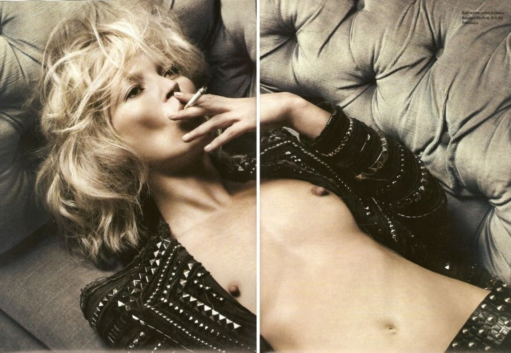 kate moss in balmain fashion smoking